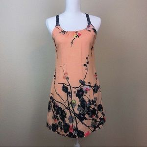 Coral Silk Pink Lace Floral Dress S